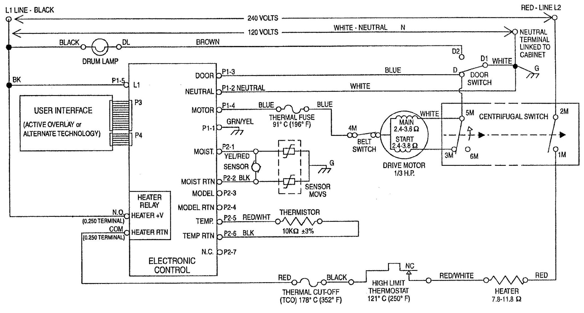GE Dryer Motor Centrifugal Switch on Ge Gas Dryer Wiring Diagram